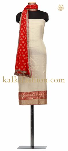 Buy it now http://www.kalkifashion.com/unstitched-suit-in-beige-with-pita-embroidery-7100.html Unstitched Suit in beige with pita embroidery