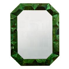 So expensive, but so gorgeous. Large octagonal mirror with faceted green glass surround