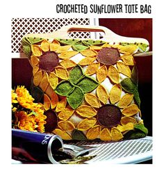 1970s Mod Sunflower Tote Beach Bag Purse Vintage by 2ndlookvintage, $3.50
