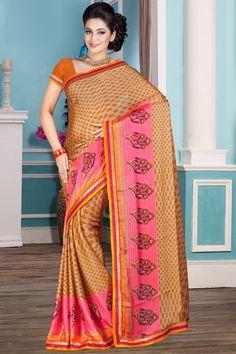 Brown designer printed sarees online from Easysarees