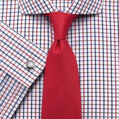 #CharlesTyrwhitt Blue and Red Multi Check Shirt and Red Tie Combination
