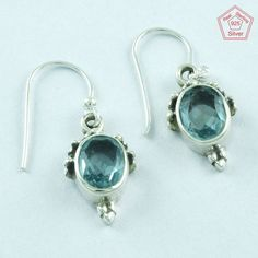 SilvexImages 925 Sterling Silver Blue Topaz Stone Passion Earrings 5122 #SilvexImagesIndiaPvtLtd #DropDangle