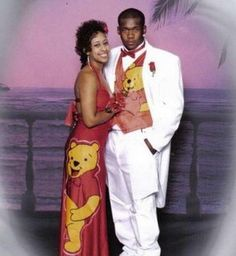 Loving the white tux. However, what I'm loving even more is the Winnie the Pooh-ness of it all. If your prom dress is more children's bedtime story than fairy-tale ball, you might regret it.  Where's piglet?