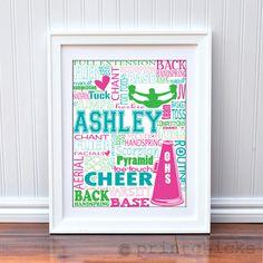 Custom Cheer Team Personalized Cheerleading Print - Cheer Coach Gift - Squad Gift - Typography Print - 16 x 20. $35.00, via Etsy.