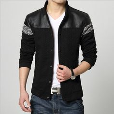 Leather Knitting Patchwork Jacket Coat Mens Fashion Hoodie Jackets Top Male Slim Hooded Cardigan Baseball Collar Outerwear M-5XL