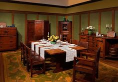 Craftsman Bungalow Interiors | Table Settings - Arts & Crafts Homes and the Revival — Arts & Crafts ...