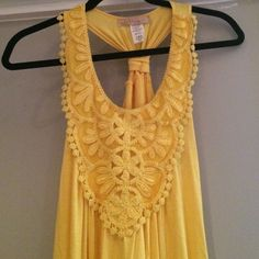 Miuse Embroidered Tank Miuse Embroidered Tank in sunny yellow! Gorgeous embroidery along front, stretch hem, gathered back. Worn twice! Miuse Tops Tank Tops