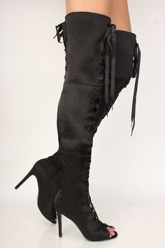 e6062f9ea27f5 Sexy Black Lace Up Peep Toe High Heels Boots Satin