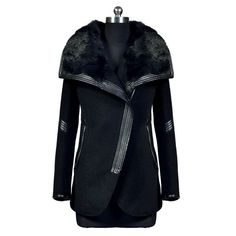 Stylish Turn-Down Neck Long Sleeve Spliced Zipper Design Women's Coat