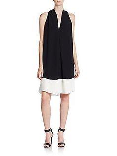 Max Studio Colorblock Shift Dress - Black - Ivory - Size