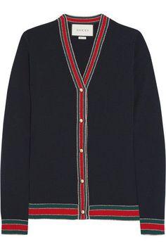 Gucci - Striped Wool Cardigan - Navy -