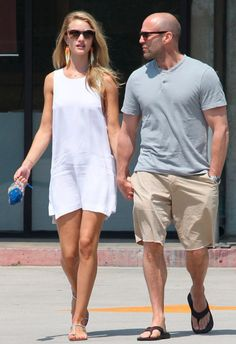 White Shift Dress Flat Sandals Embellished Pouch Bag by Model Rosie Huntington Whiteley - With Jason Statham - Paparazzi Look Street Style Fashion - #fashion #outfit