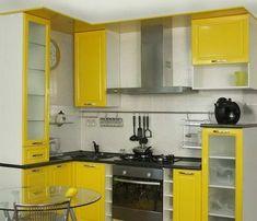 Кухонный гарнитур для маленькой кухни желтого цвета