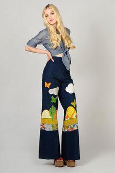 vintage 70s PATCHWORK denim Bell Bottom High waisted Jeans M novelty hippie boho. $165.00, via Etsy.