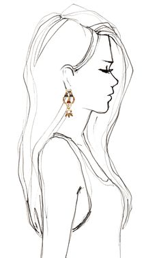 Bochic Hemingway Earrings, great silhouette. I always need a silhouette when I'm drawing profile portraits