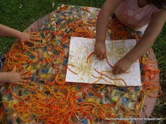 Here's another take on messy play with colored spaghetti -- Mummy Musings & Mayhem shares how she got out the paper and let her kids create one-of-a-kind works of art with spaghetti prints! Pinned by SPD Blogger Network. For more sensory-related pins, see http://pinterest.com/spdbn