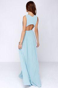 Vestido Maxi cuello pico-azul