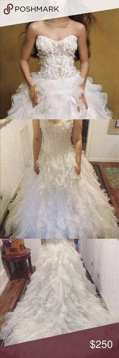 Wedding gown. Coco Anias brand. Size 10. Beautiful wedding gown with appliqué bodice and long train. Can be sheer or gown includes detachable lining. Size 10 Coco Anias Dresses Wedding