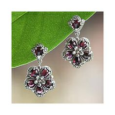 Sterling Silver 'Red Frangipani' Garnet Flower Earrings    $79.99 #Jewelry #Shine #Sparkle #Bling   Visit WISHCLOUDS.COM for more…