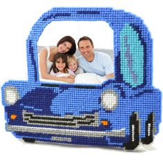 Blue car plastic canvas stitch kit. For beginners.