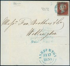 1841 1d. red-brown plate 96 CC, just touched at left, used on 1850 (Jul. 17) front to Wellington, tied ''29'' numeral cancellation in blue, fine. S.G. Spec. BS31xb, cat. £375+.