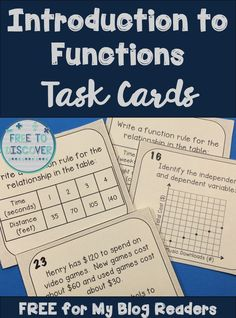 Stop by the Free to Discover blog to download this free set of Introduction to Functions Task Cards. These 24 cards include writing an equation to represent a proportional or non-proportional relationship in a table, identifying the independent and dependent variables of a function, and stating the domain and range. Be sure to subscribe to the Free to Discover blog for ideas and resources for your middle school math classroom!