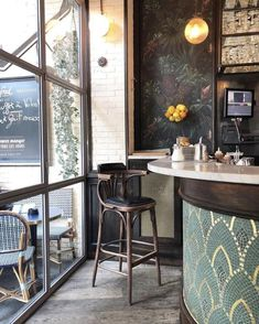 Home Bar diy Café Bar, Design Café, Cafe Design, Bar Restaurant, Restaurant Design, Bistro Interior, Interior Design, French Coffee Shop, Architecture Restaurant