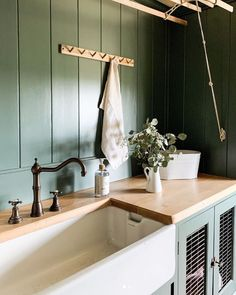 Our Alsace mixer in English bronze is the perfect complement to the green painted and natural wood features in this traditionally styled utility room. Thank you @joannalouise87 on Instagram for sharing #perrinandrowe #utilityroom #laundryroom #utilityroomdesignideas #rusticdecor #traditionalhousedesign #homeinteriors #realhomeinspiration #bronzetaps #dreamutilityroom Utility Room Inspiration, Alsace, Traditional House, Country Style, Laundry Room, Rustic Decor, Natural Wood, Mixer, Sink