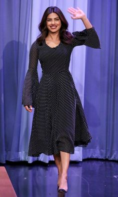 """25 times Priyanka Chopra stunned us in In a long‐sleeve polka dot dress on the set of """"The Tonight Show Starring Jimmy Fallon"""" on Sept. Parisienne Chic, Dress Indian Style, Indian Dresses, Western Dresses, Priyanka Chopra, Skirt Fashion, Fashion Dresses, Bridal Lehenga Choli, Bollywood Fashion"""