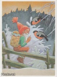 Vintage Finnish Christmas Gnome Card by Rudolf Koivu ~ Bits of Orange Baumgarten, Christmas Gnome, Christmas Illustration, Scandinavian Christmas, Vintage Christmas Cards, Black And White Pictures, Clay Creations, Good Old, Vintage Postcards