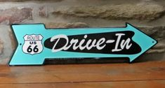 Drive-In Rt. 66 | Retro Drive-In | Diner | Route 66 | 1950's Decor | Tin Sign | A Simpler Time | A Simpler Time