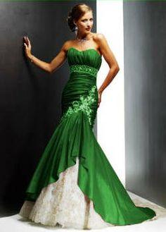 green wedding dress | hunter-lime-green-and-white-wedding-dresses-gowns-dress-strapless-blue ...