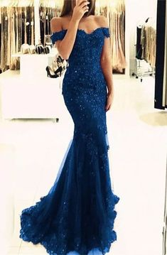 Elegant Pearl Beaded Lace Mermaid Evening Dresses Off The Shoulder Prom Gowns Schulterfrei Lace Mermaid Prom Dresses 2019 Elegante Abendkleider – alinanova Mermaid Prom Dresses Lace, Royal Blue Prom Dresses, Lace Evening Dresses, Lace Mermaid, Elegant Dresses, Royal Blue Long Dress, Long Dresses, Royal Blue Evening Gown, Elegant Evening Gowns