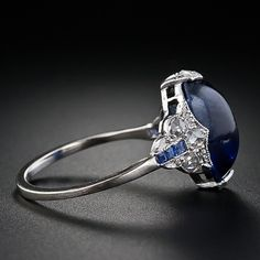 Platinum Cabochon Sapphire & Diamond Ring - 30-1-4119 - Lang Antiques