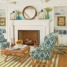 Living Room - love the fabric & x-stool