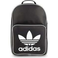 Adidas Originals Adidas classic backpack ($37) ❤ liked on Polyvore featuring bags, backpacks, urban backpack, logo backpacks, zipper bag, day pack backpack and pu backpack