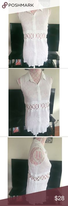 NWT Urban Outfitters Top Size Small Urban outfitters Luck Couture white crinkled button down top. Cut out waist. Sleeveless. Size small. 100% rayon Urban Outfitters Tops Blouses