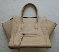 Celine Taupe Nude Leather Phantom Bag On www.FullCircleFashion.com