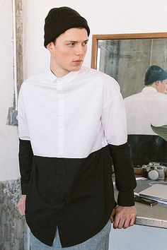 Black/White color block button down long sleeve shirt