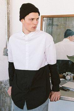 Black/White color block button down long sleeve shirt