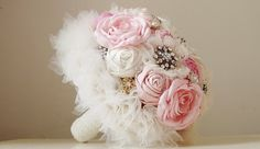 Brooch Wedding Bouquet Vintage Bridal Bouquet by Vintage Bridal Bouquet, Wedding Brooch Bouquets, Flower Boquet, Fabric Flowers, Floral Wreath, Flower Girl Dresses, Wedding Dresses, Pink, Etsy