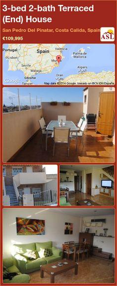 3-bed 2-bath Terraced (End) House in San Pedro Del Pinatar, Costa Calida, Spain ►€109,995 #PropertyForSaleInSpain