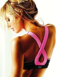 It's a sports bra with a breast cancer pink ribbon for straps on the back!