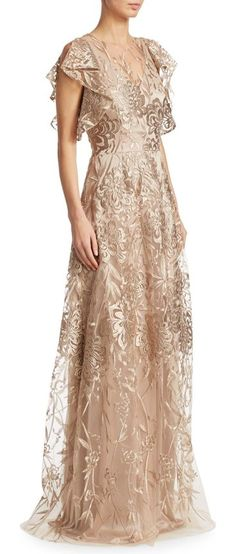 "floral floor-length gown by David Meister. Elegant gown updated with an embroidered mesh overlay.V-neck. Flutter sleeves. Concealed back zip. Lined. About 63"" from shoulder to hem. Polyester. Professional dry clean only. Imported. Model shown is 5'10"" (177cm) wearing US size 4. #davidmeister #dresses #gowns"