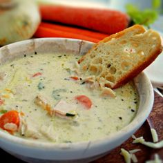 The ultimate winter meal! Creamy chicken soup.  Amazingly delicious and freezes like a dream!