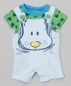 Look what I found on #zulily! White Dog Shortalls & Green Dog Tee - Infant #zulilyfinds