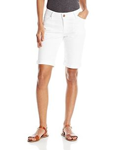 Clothing, Shoes & Jewelry > Women > Clothing > Shorts > Casual > Lee Women's Midrise Series Arianna Bermuda Short, White, 10 Get Price De. Rolled Hem, Short Outfits, Latest Fashion Trends, Looks Great, Bermuda Shorts, White Shorts, Casual Dresses, Casual Shorts, Dressing
