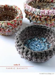 Beginner's crochet lesson. Use fabric scraps to make fabulous storage baskets. Tutorial shows how to make fabric yarn and rag rope. #crochet by danielle