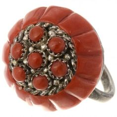 Old Pawn Zuni Mediterranean Coral Ring 26938  | Alltribes