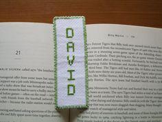 White bookmark boy name bookmark green David baptism birthday graduation gift handmade hand sewn cross stitch needlecraft needlepoint by Allisonscsc on Etsy